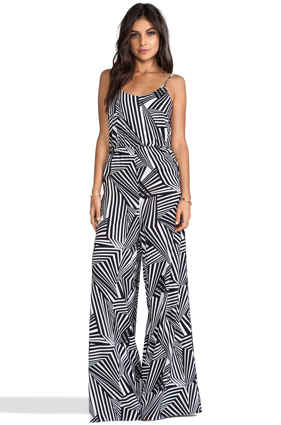 Alice + Olivia Liette High Waist Wide Leg Tank Jumpsuit in Carnival Geometric