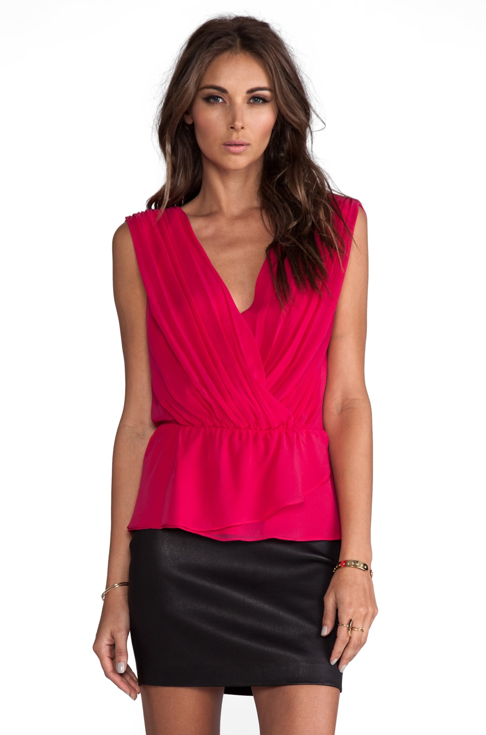 Alice + Olivia Abigayle Rouched Crossover Top in Berry Punch