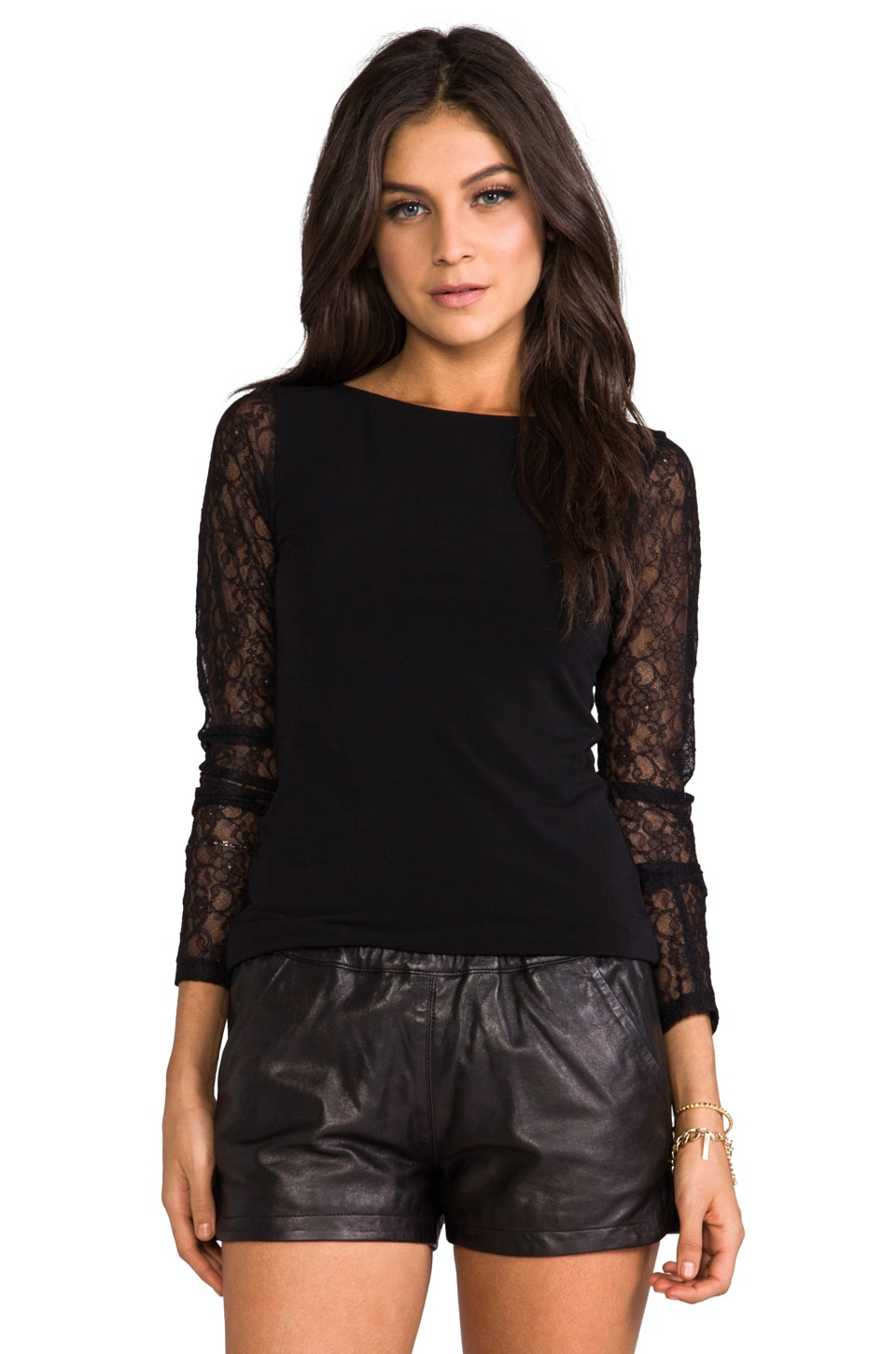 Alice + Olivia Lenni Long Sleeve Lace Combo Top in Black