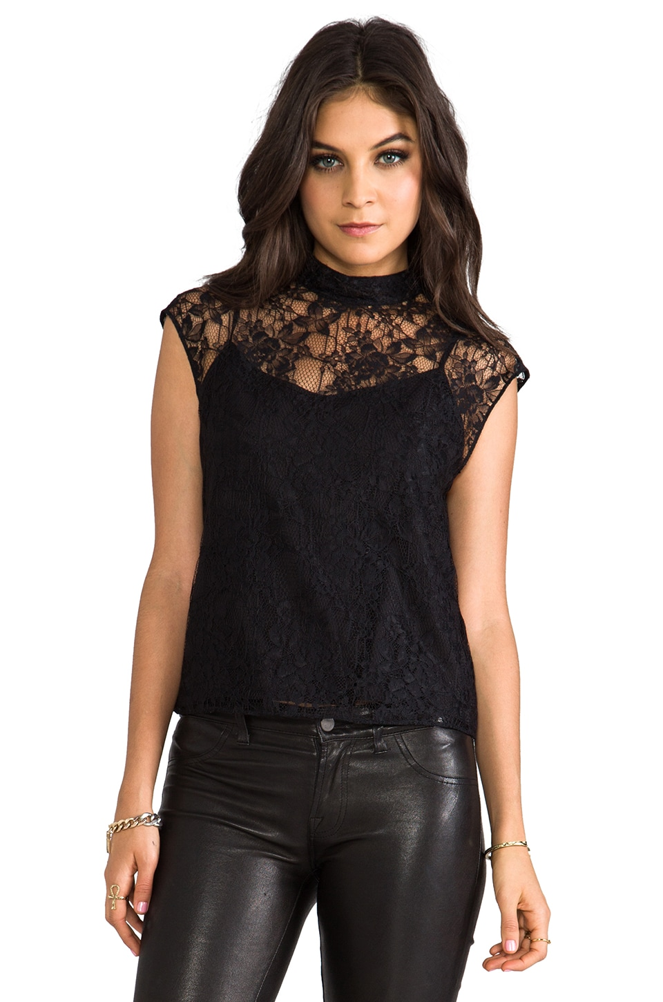 Alice + Olivia Hanna Mock Neck Boxy Top in Black