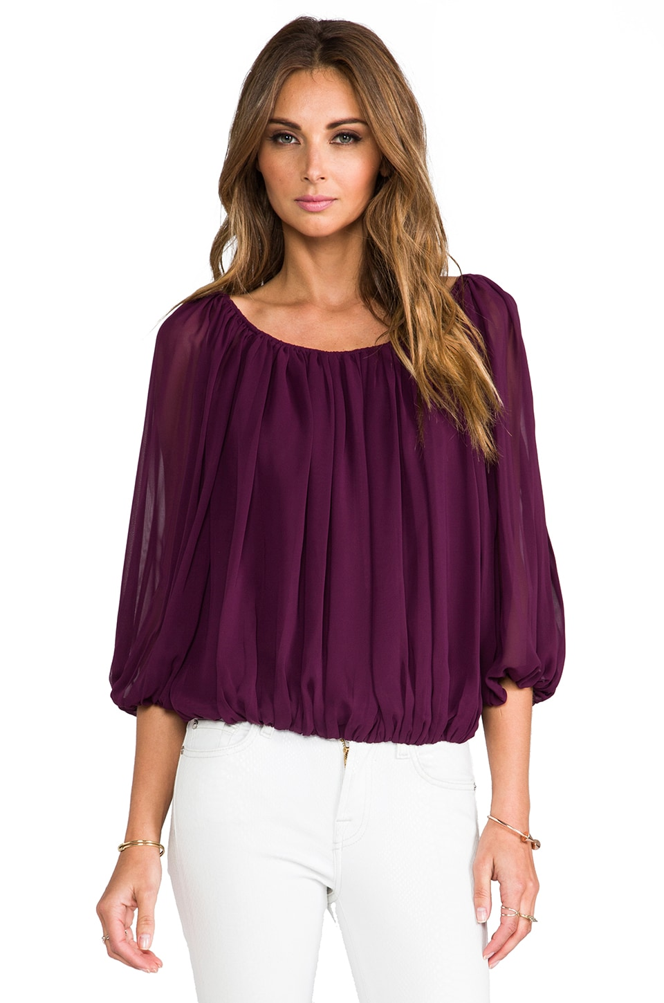 Alice + Olivia Braiden Boxy Gathered Top in Plum
