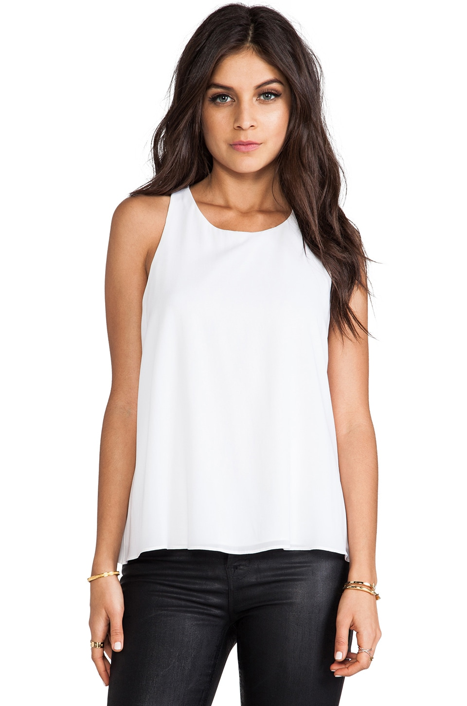 Alice + Olivia Vicky Back Twist with Keyhole Top in White