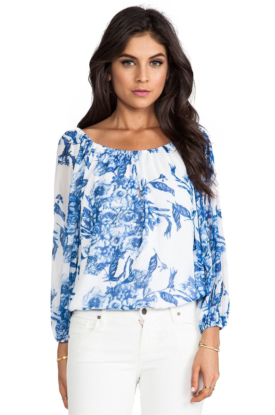 Alice + Olivia Keyhole Front Blouson Top in Etched Floral