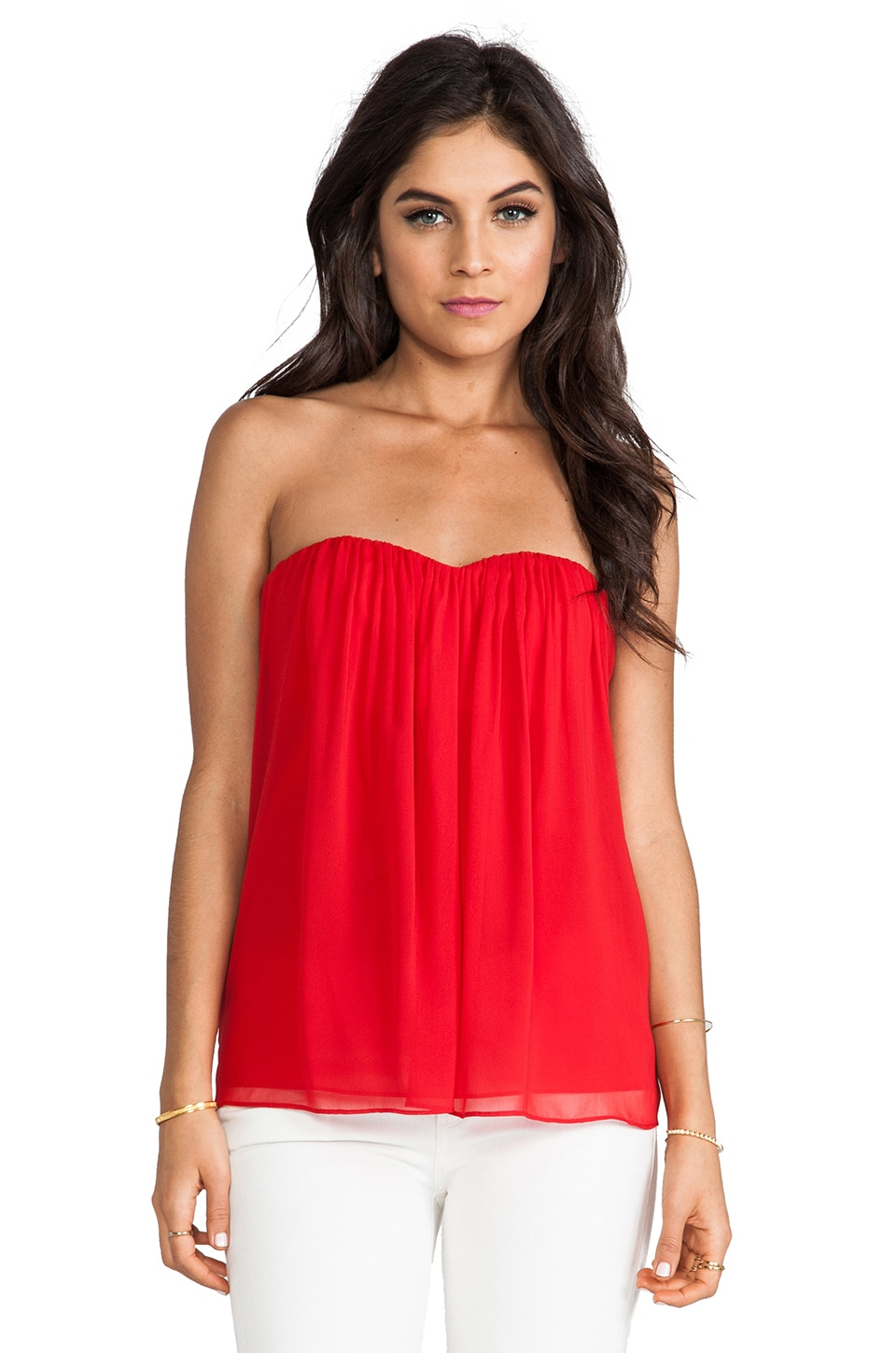 Alice + Olivia Kenley Gathered Strapless Top in Red
