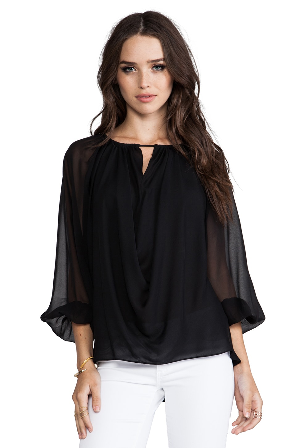 Alice + Olivia Mariana Oversized Blouson Sleeved Draped Top in Black