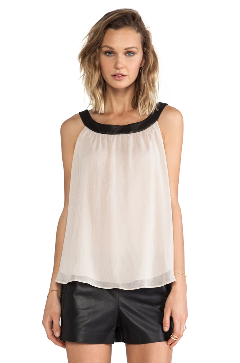 Alice + Olivia Antonia Leather Neckband Tank in Nude
