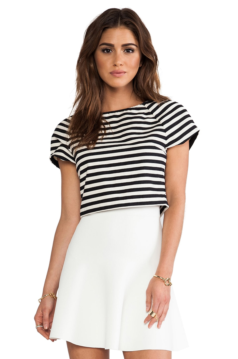 Alice + Olivia Connelly Striped Crop Top in Black & White