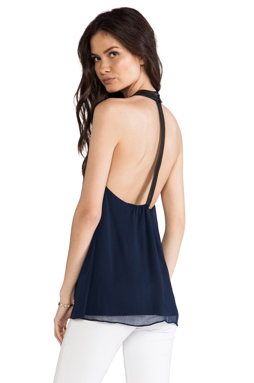 Alice + Olivia Haber Leather T Back Swing Tank in Sapphire