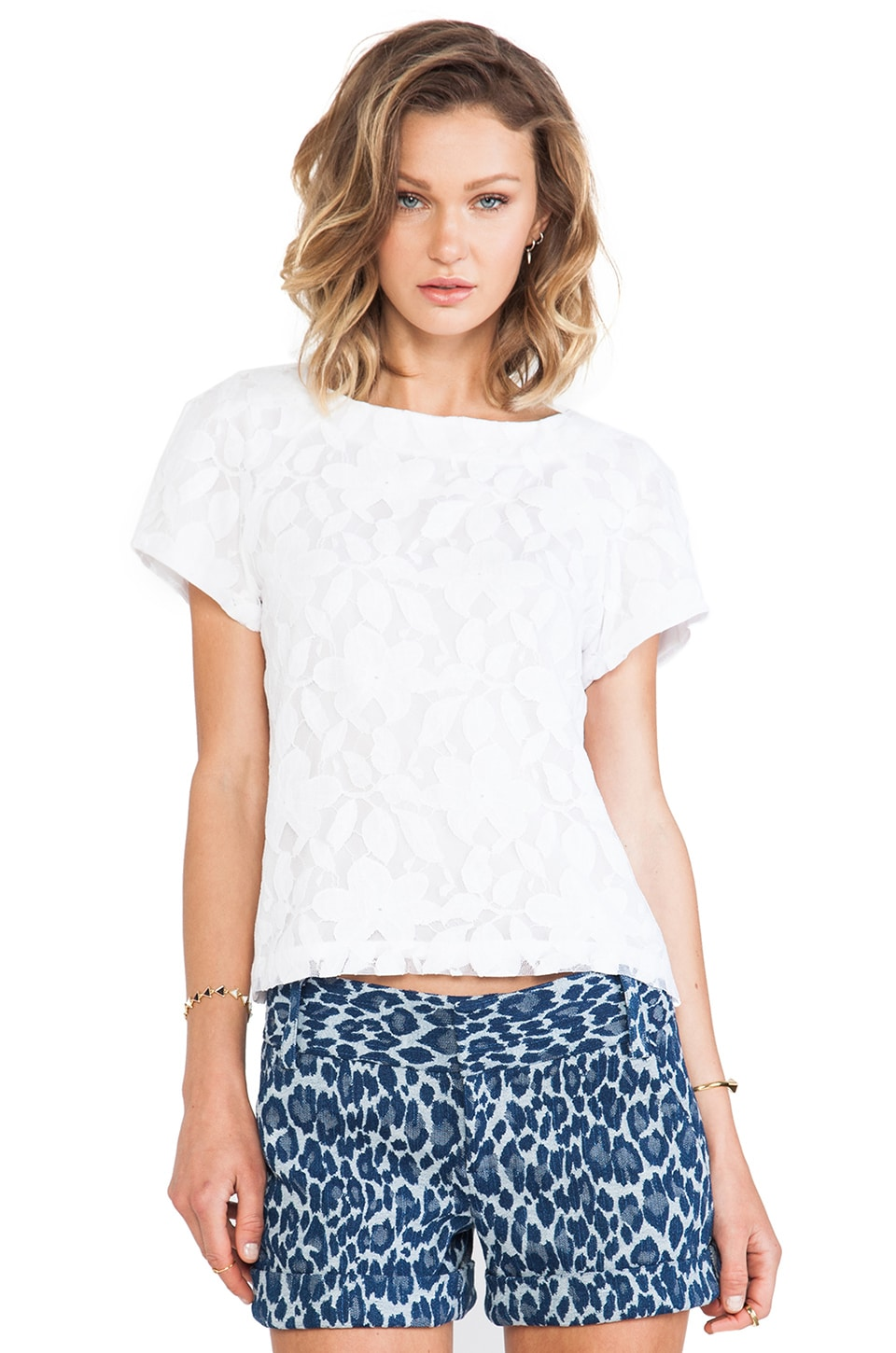 Alice + Olivia Edi Structured Top in White