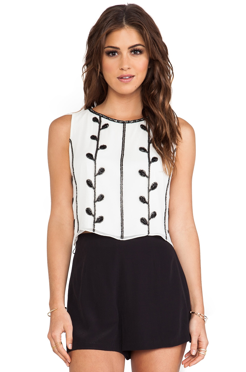 Alice + Olivia Tiara Embellished Tank in White & Black