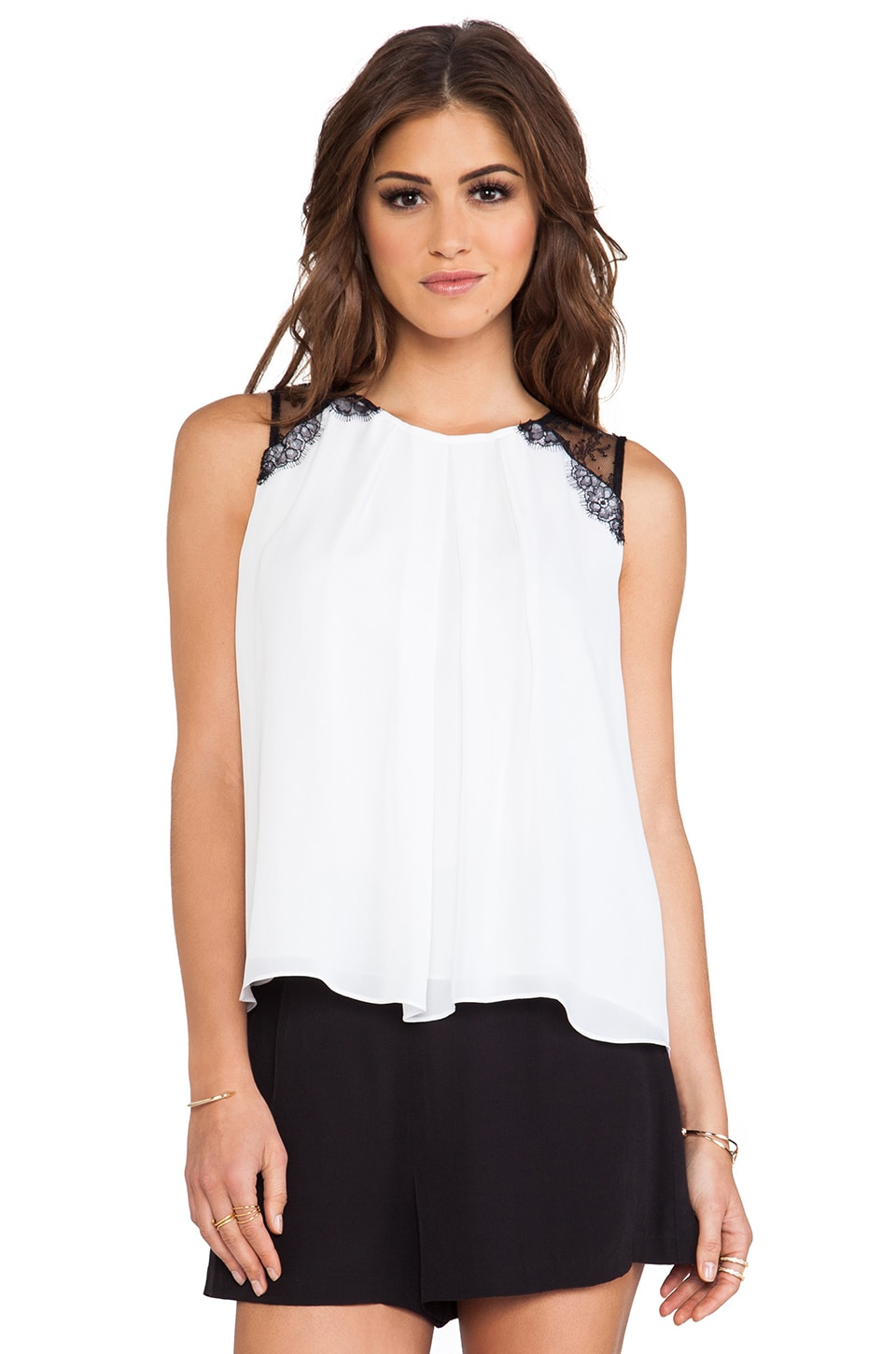 Alice + Olivia Lorretta Lace Combo Sleeveless Top in White