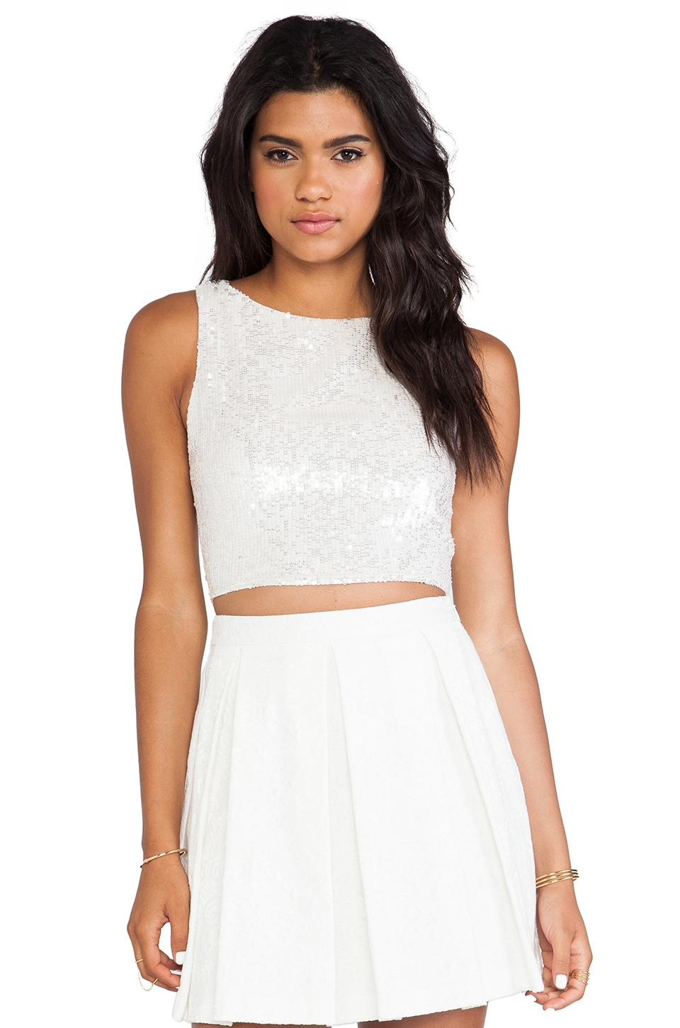 Alice + Olivia Pire Sleeveless Crop Top in White