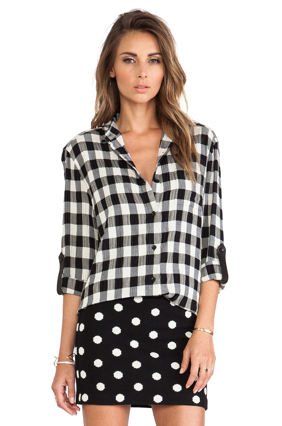 Alice + Olivia Piper Button Down in Black & White
