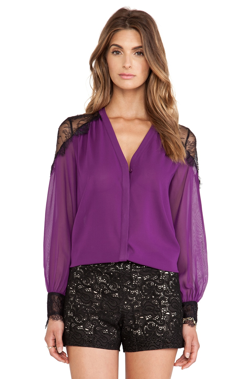 Alice + Olivia Sofia Lace Shoulder Blouse in Electric Plum
