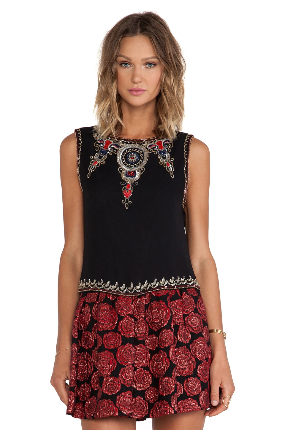 Alice + Olivia Cecillie Embellished Crop Top in Black Multi