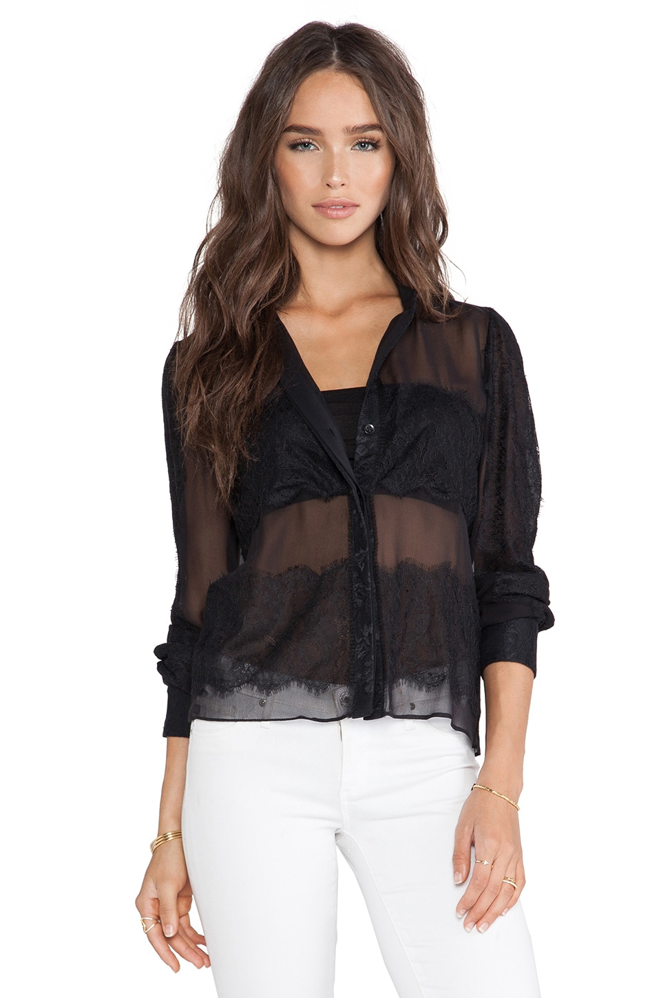 Alice + Olivia Vicka Blouse in Black