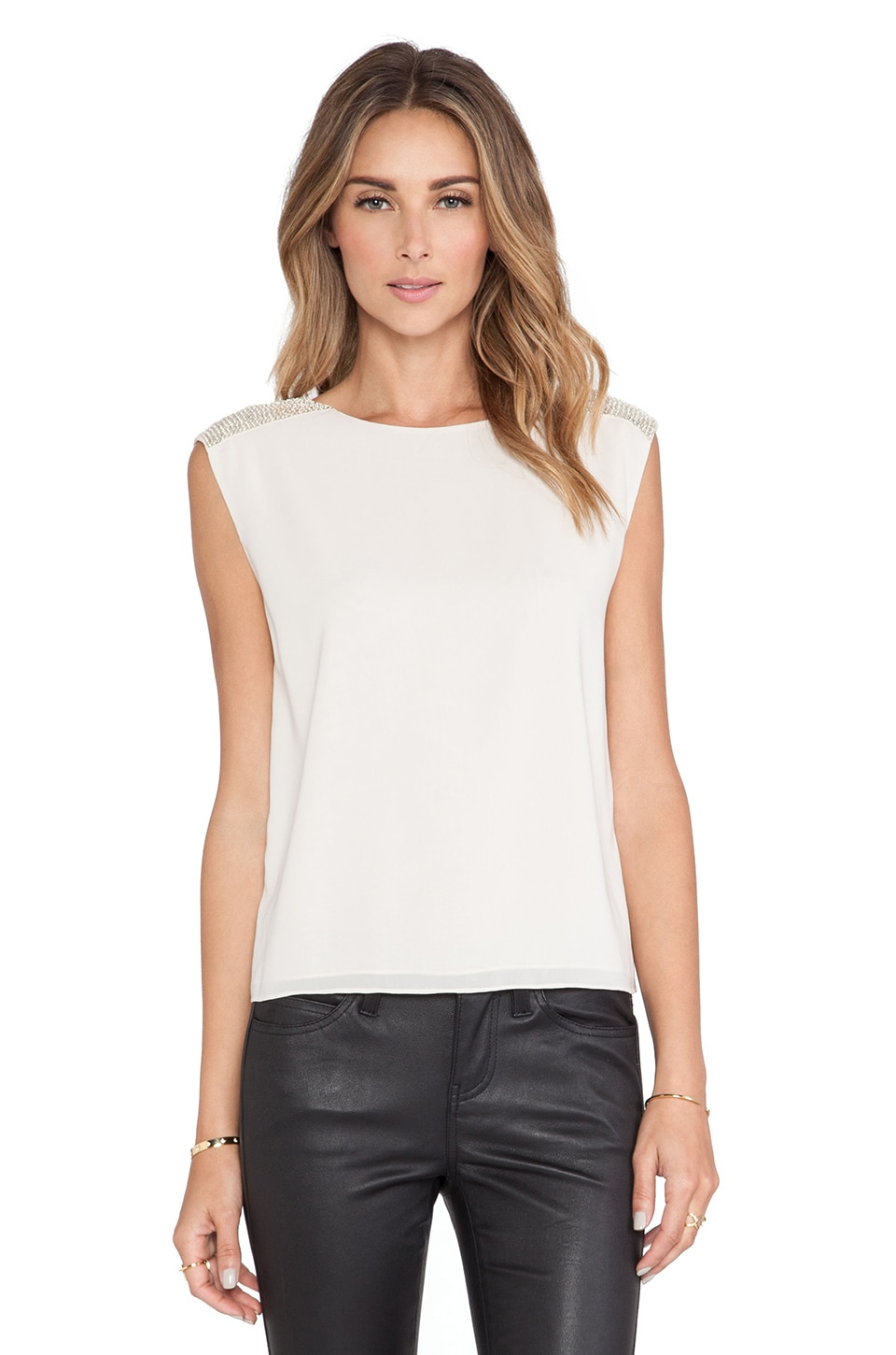 Alice + Olivia Baka Sequin Shoulder Top in Antique
