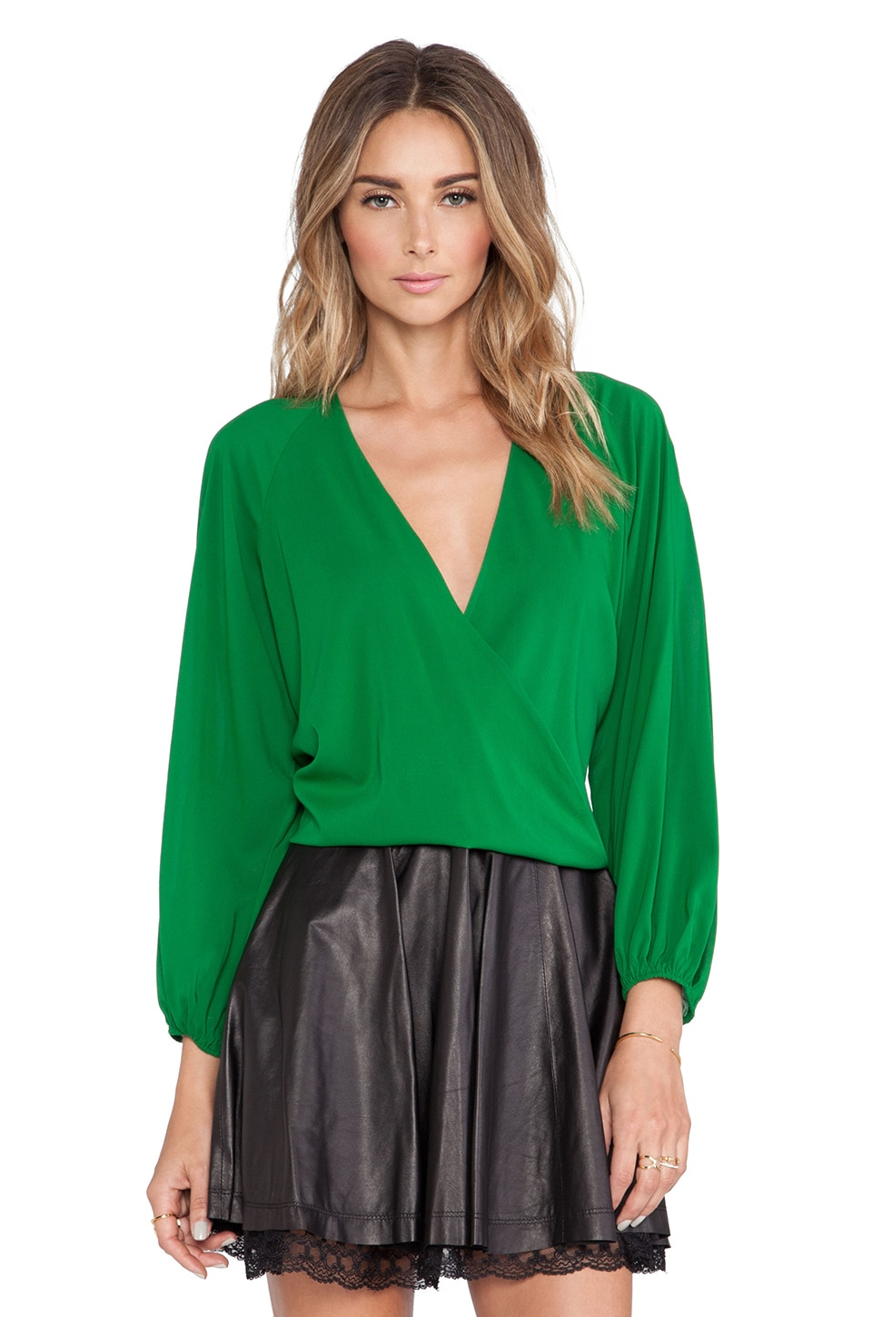 Alice + Olivia Borvo Cross Over Blouse in Emerald