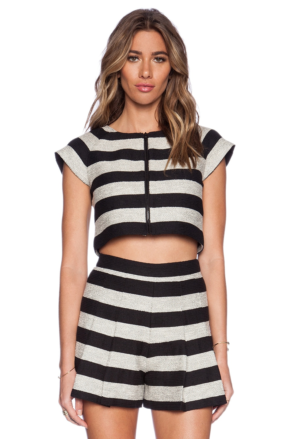 Alice + Olivia Amy Dual Front Boxy Top in Black & Silver