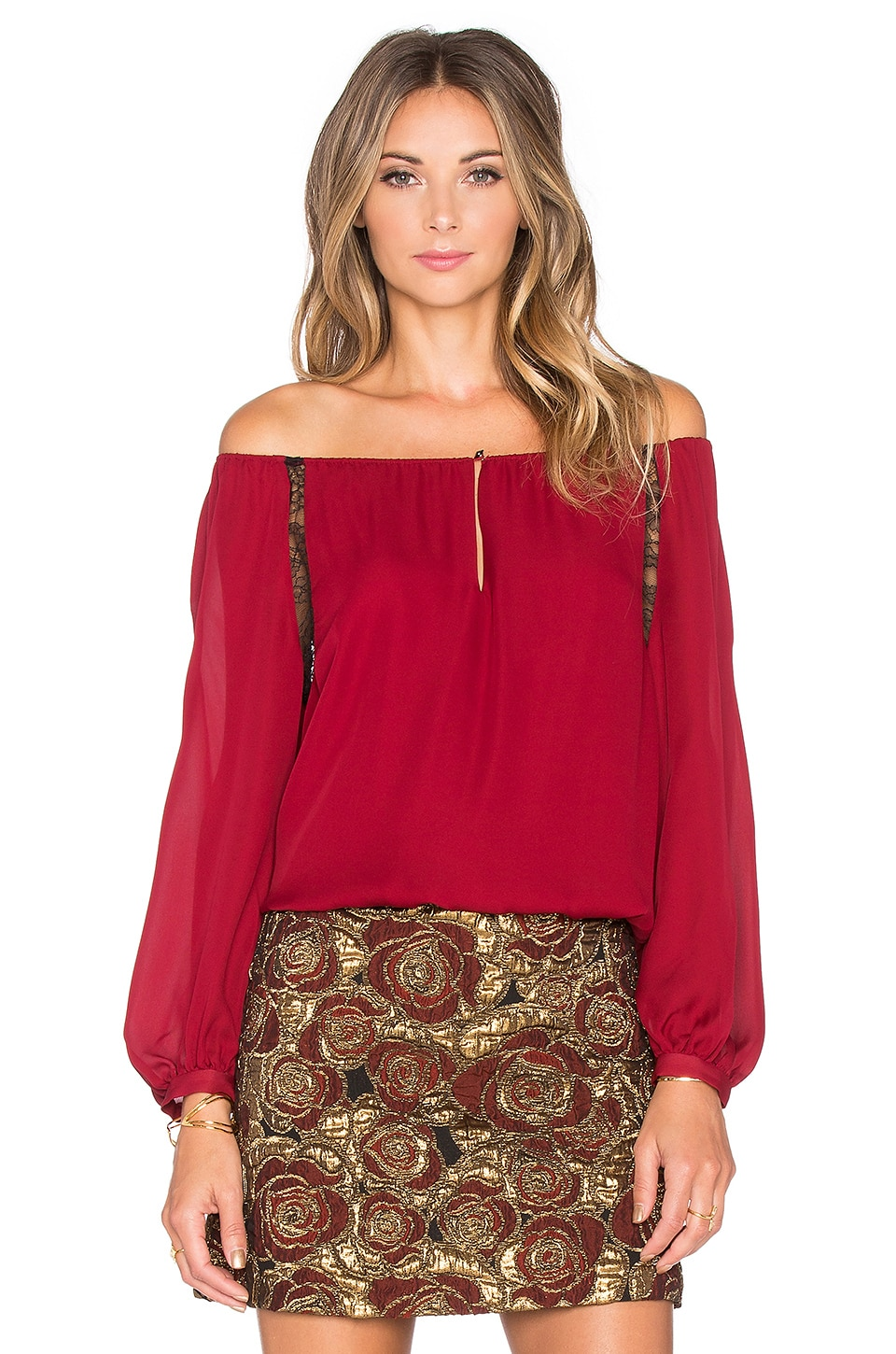 Alice + Olivia Daroda Top in Red & Black