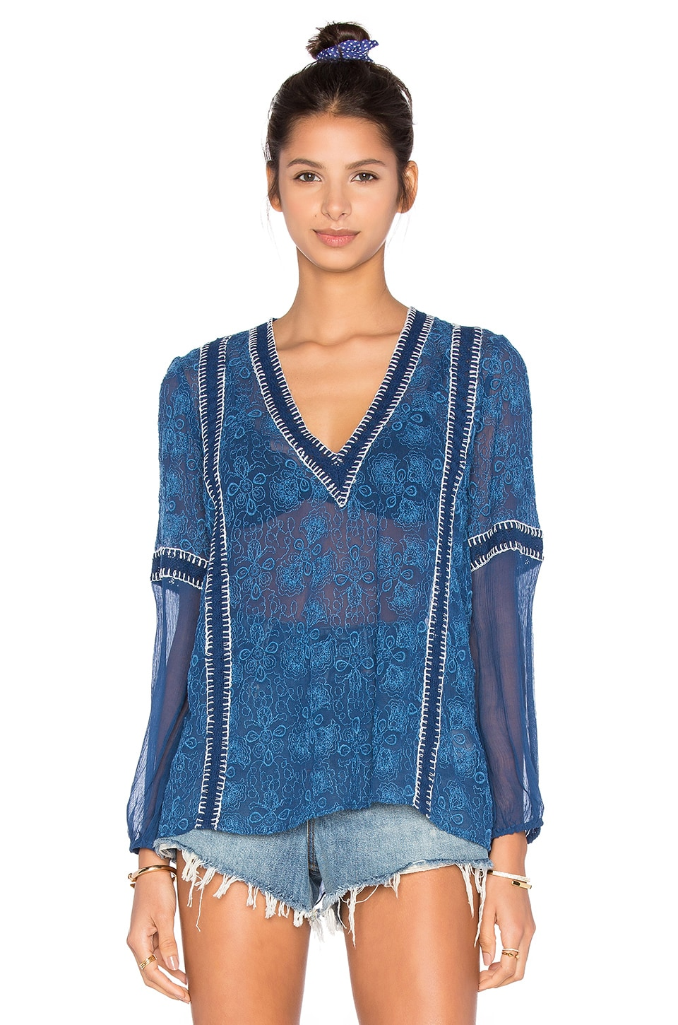 Alice + Olivia Natalya Top in Indigo