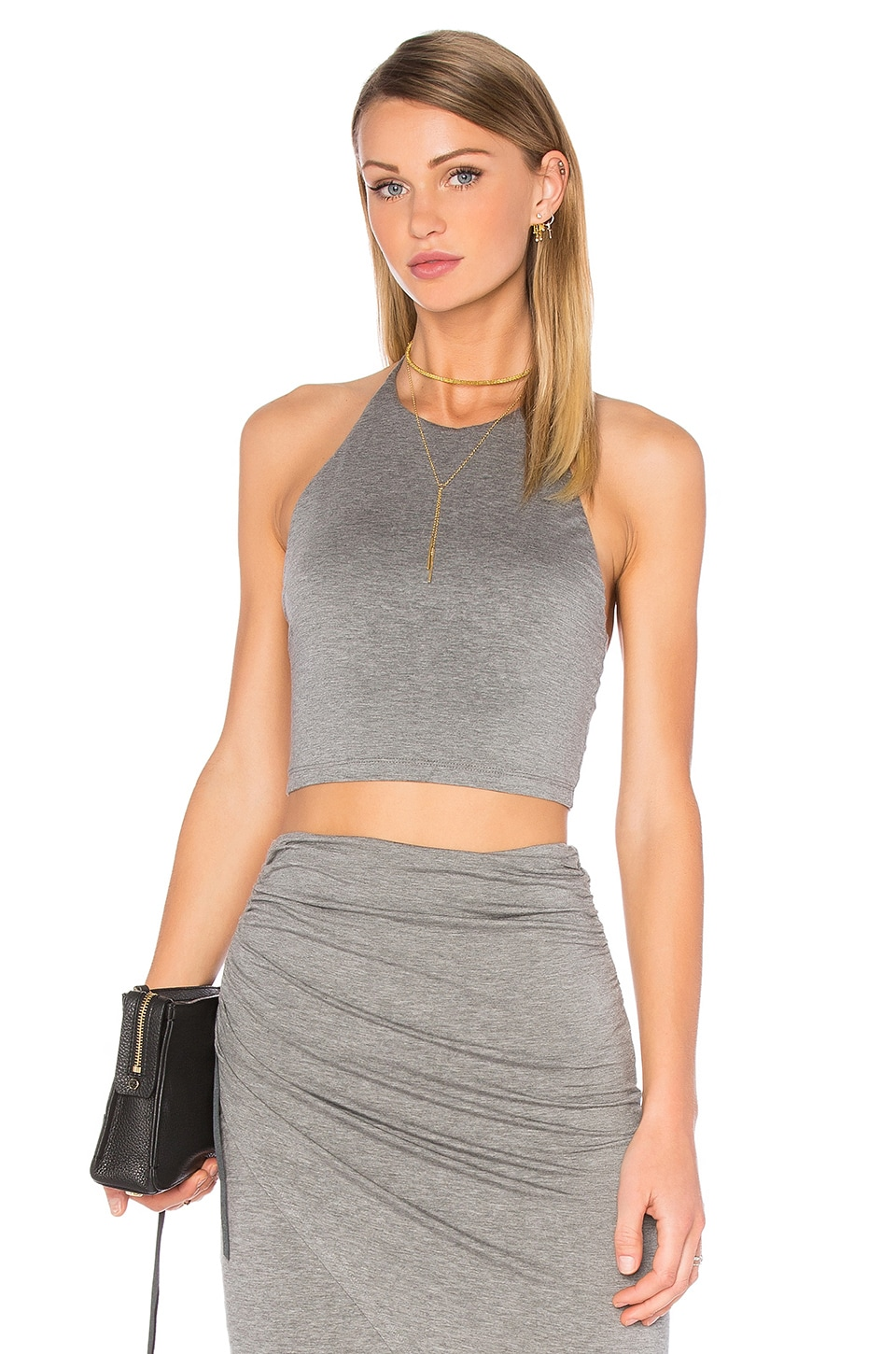 Alice + Olivia Jaymee Halter Crop Top in Medium Grey