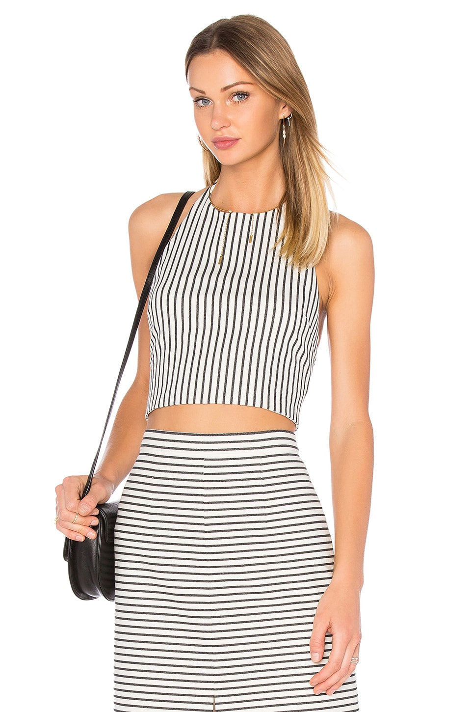 Alice + Olivia Jaymee Halter Crop Top in Cream & Black