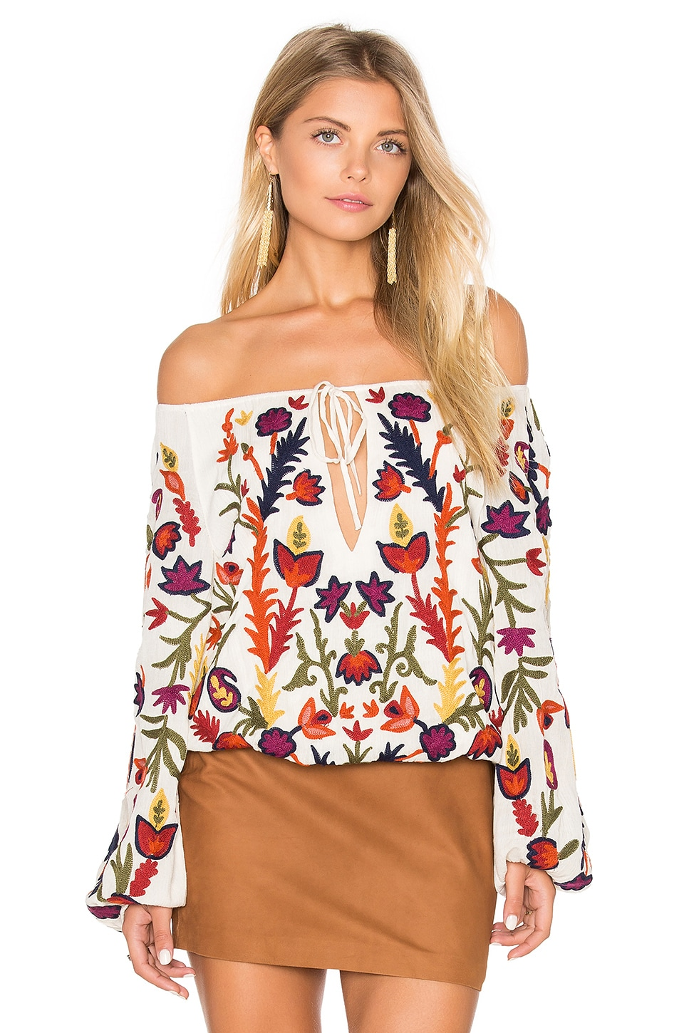 Alice + Olivia Naya Embroidered Peasant Top in Cream & Multi