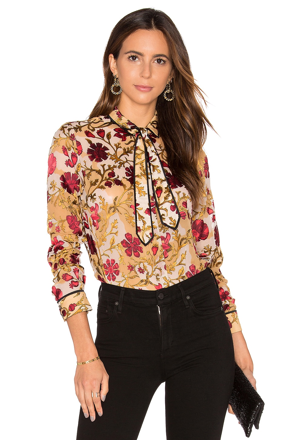Alice + Olivia Cora Contrast Blouse in Medieval Floral