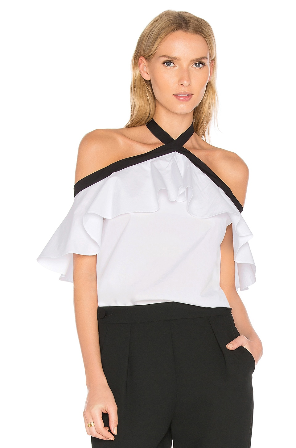 Alice + Olivia Alyssa Top in White & Black
