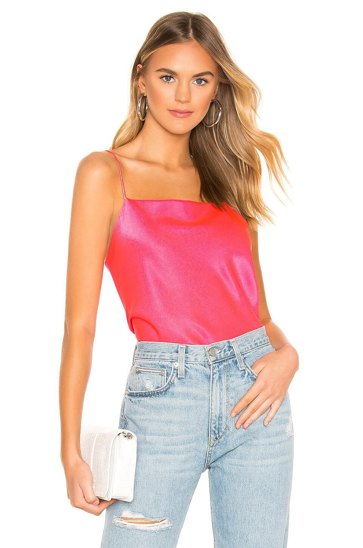Alice + Olivia Harmon Slip Tank in Neon Pink