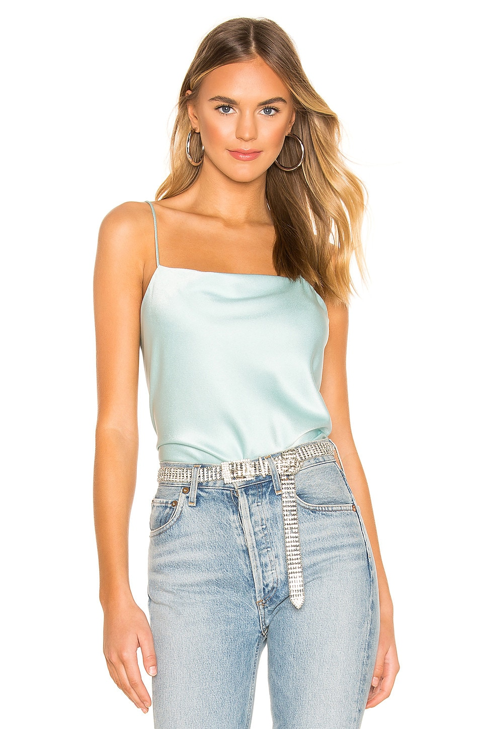 Alice + Olivia Harmon Slip Tank in Powder Blue