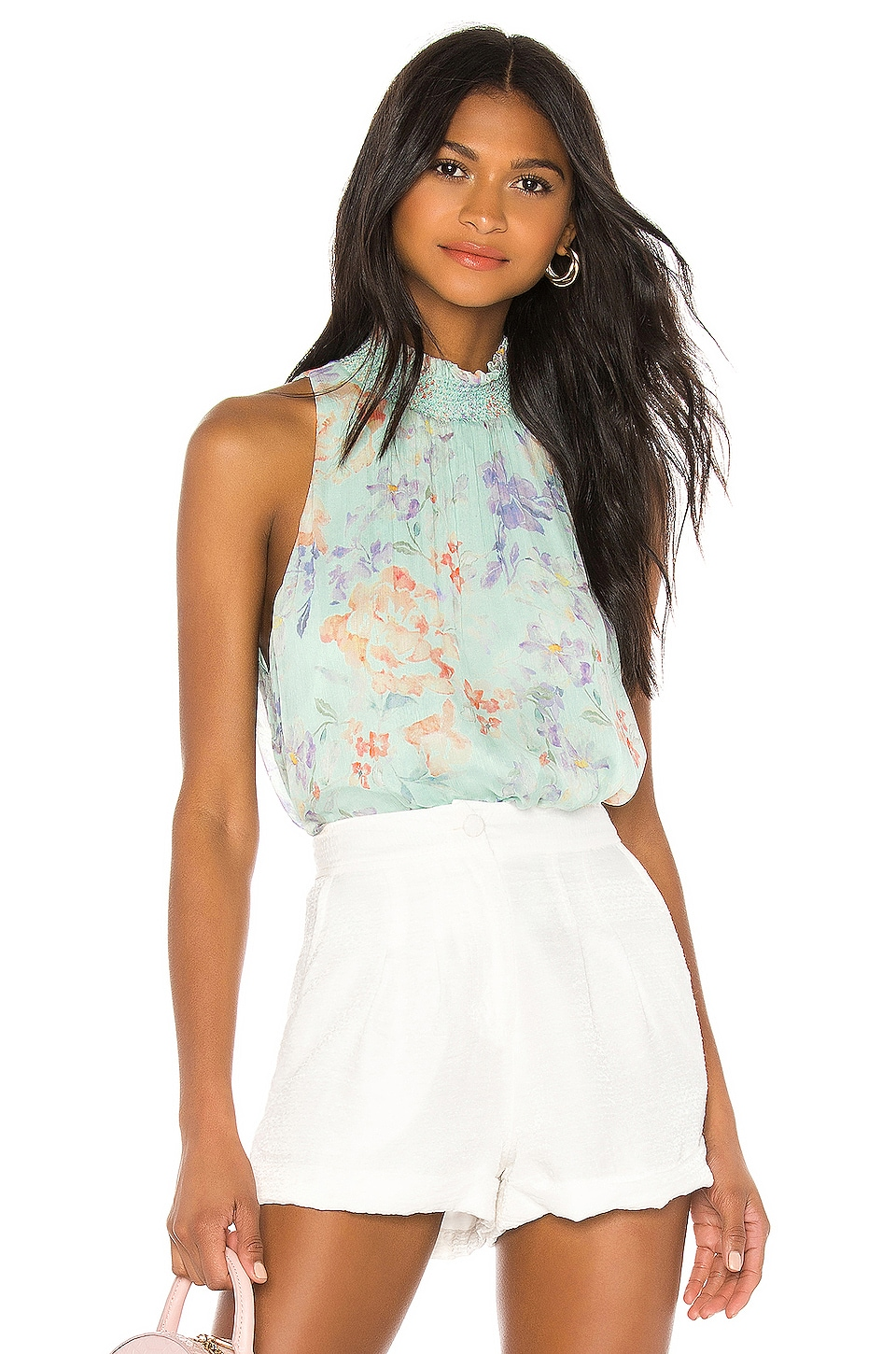 Alice + Olivia Annmarie Smocked Neck Tank in Water Petal Light Blue & Multi