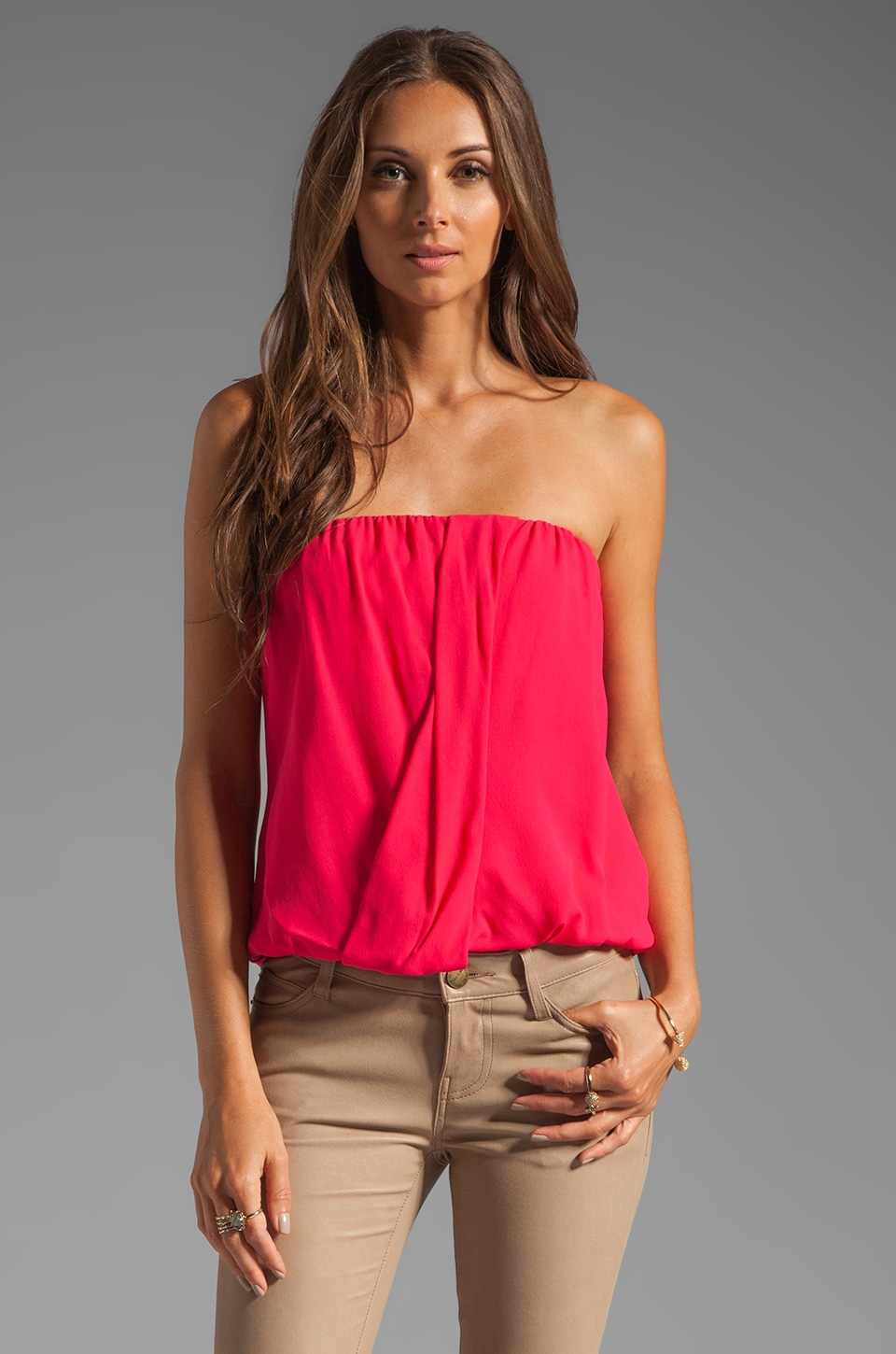Alice + Olivia Carmela Draped Tube Top in Bright Raspberry