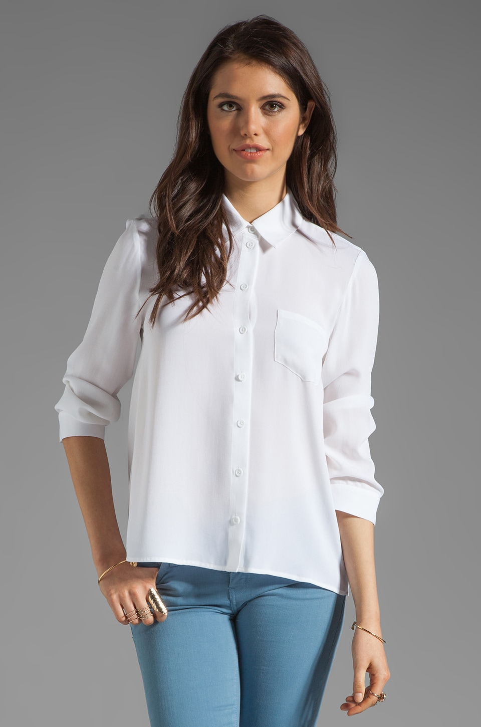 Alice + Olivia Desma Button Down Swing Blouse in White