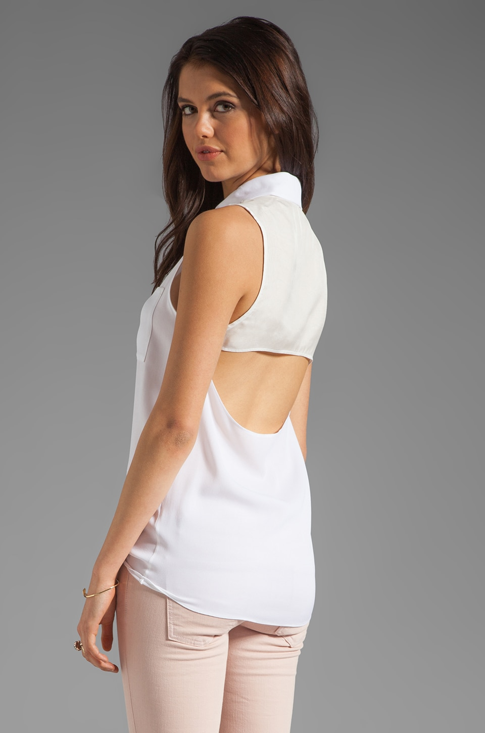 Alice + Olivia Blayne Sleeveless Cut Back Top in White