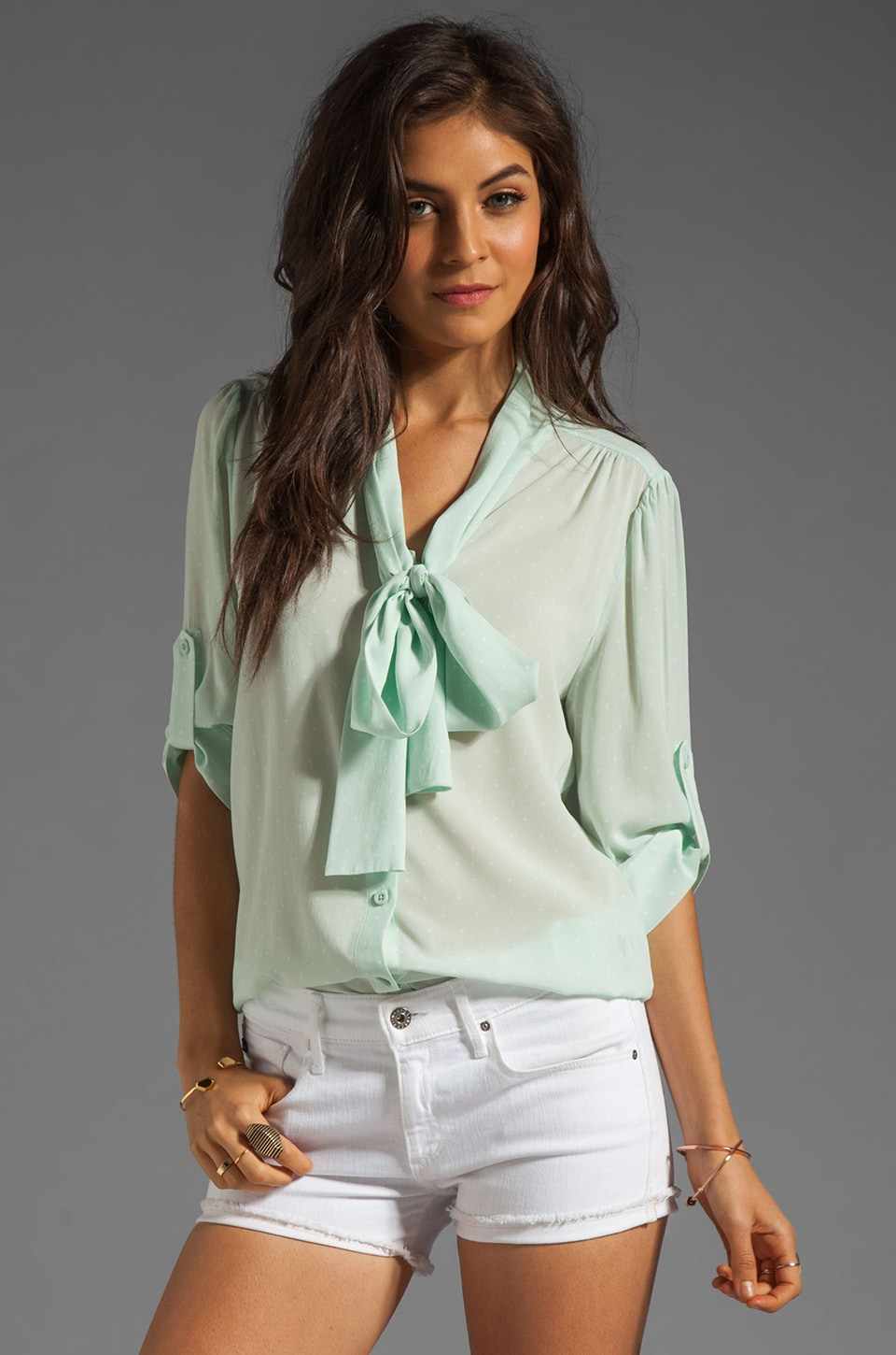Alice + Olivia Arie Tied Collar Blouse in Pastel Dot/Aqua