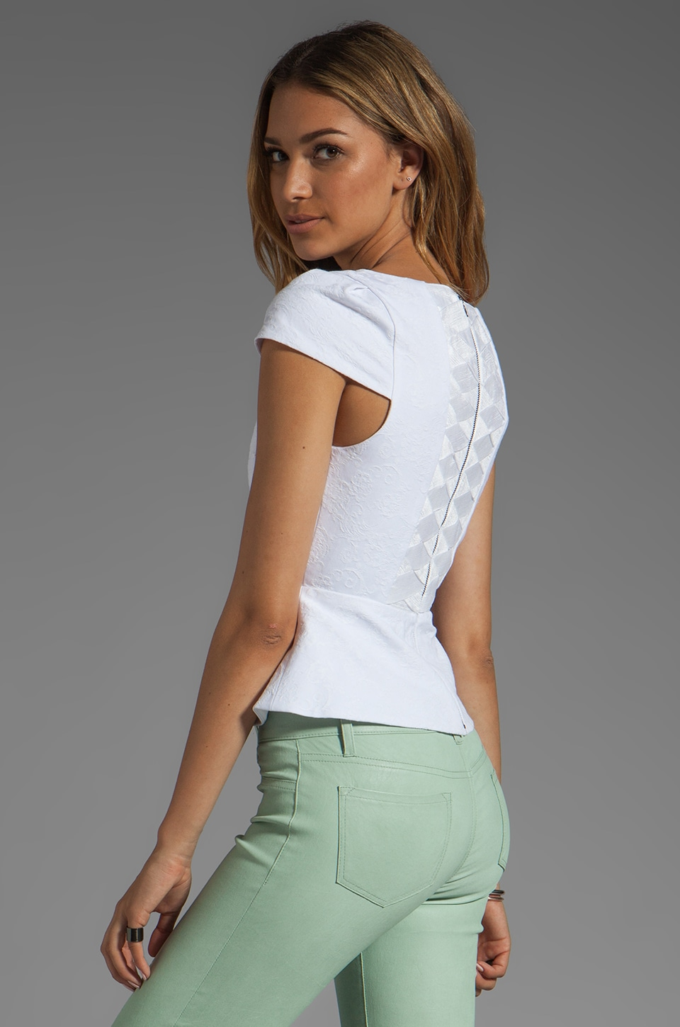 Alice + Olivia Roz Short Sleeve Boatneck Peplum Top in White