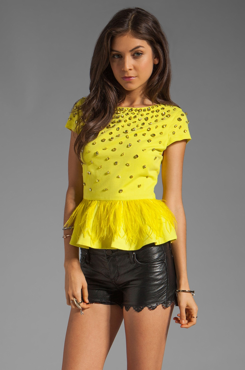 Alice + Olivia Blossom Embellished Peplum Top in Chartreuse Green
