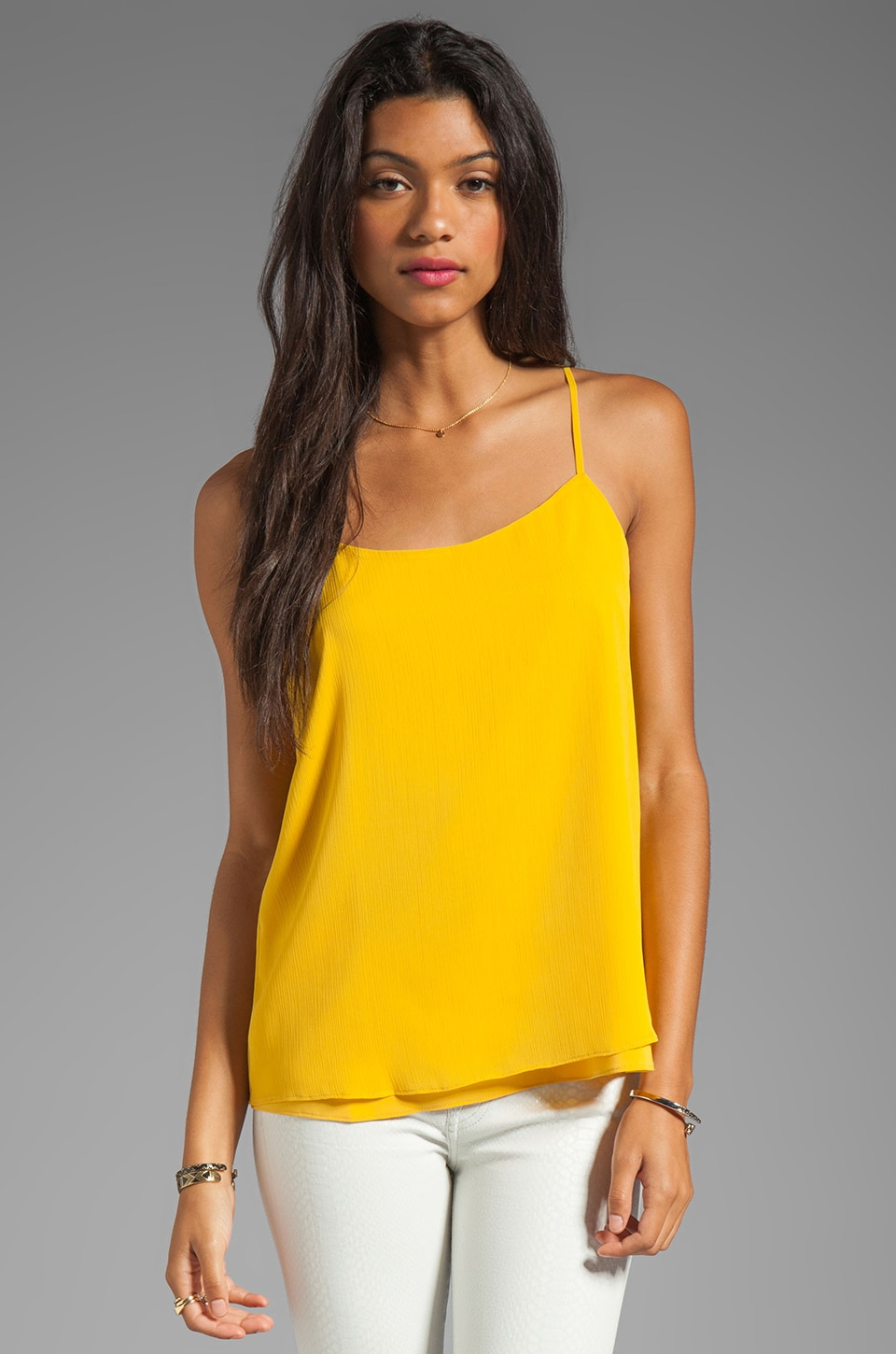 Alice + Olivia Crinkle Loose Top in Sunflower