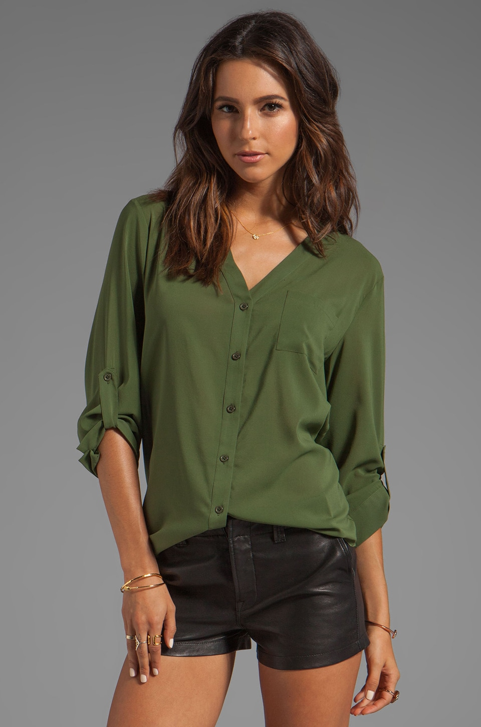 Alice + Olivia Colby Rolled Sleeve Draped Button Down Top in Deep Ivy