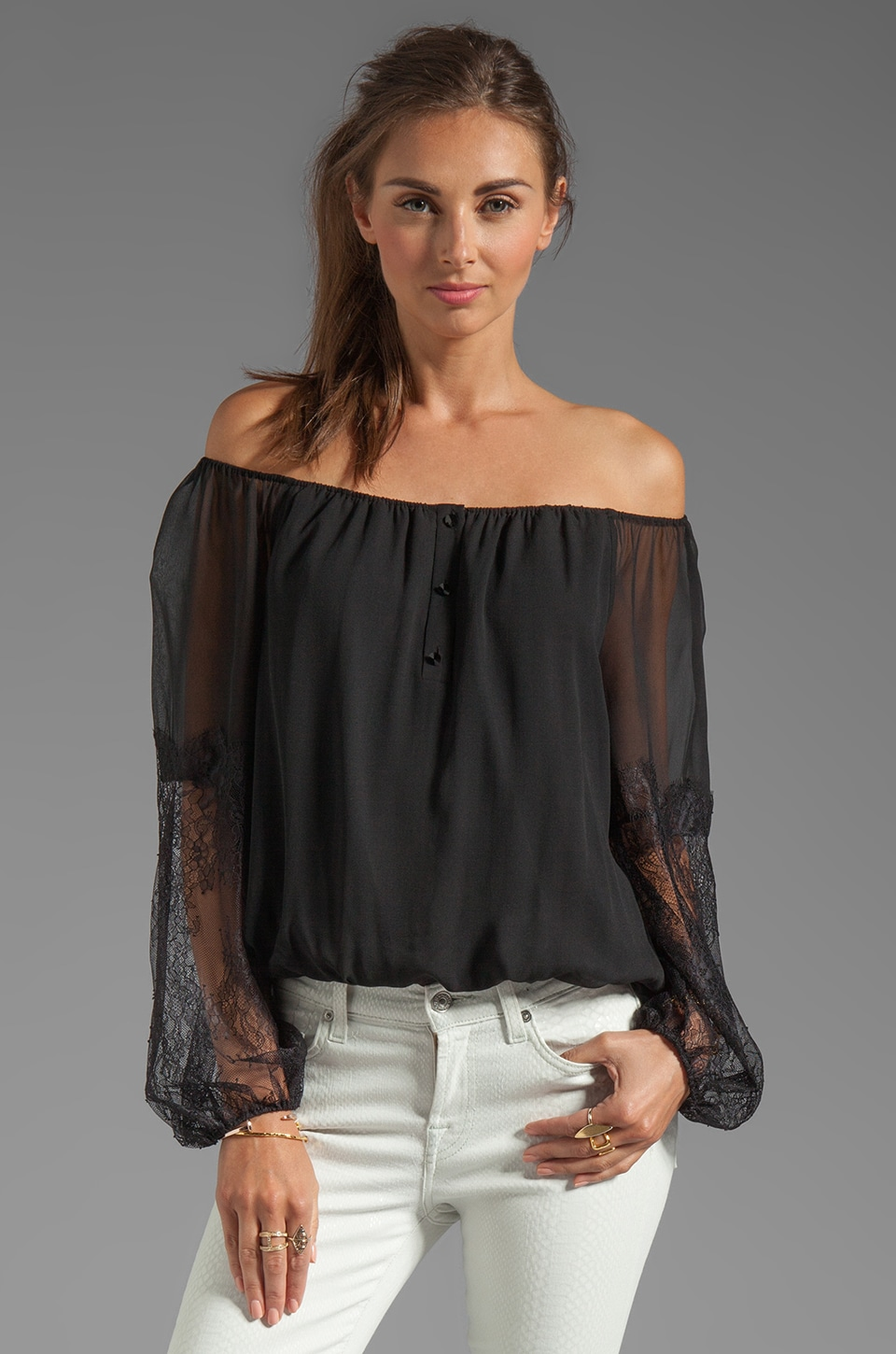 Alice + Olivia Isla Off The Shoulder Top in Black