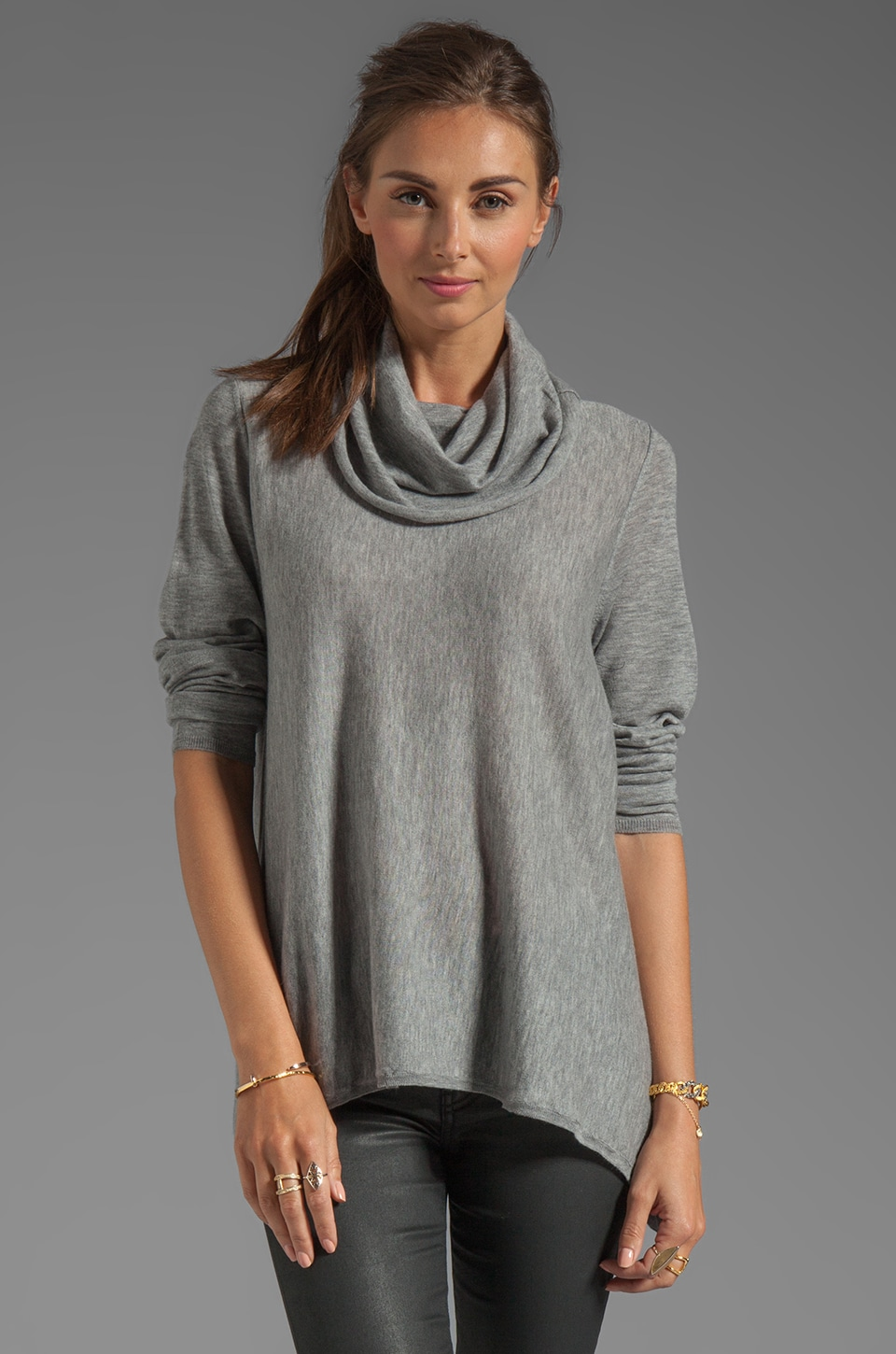 Alice + Olivia Draped Cowl Neck Top in Heather Grey