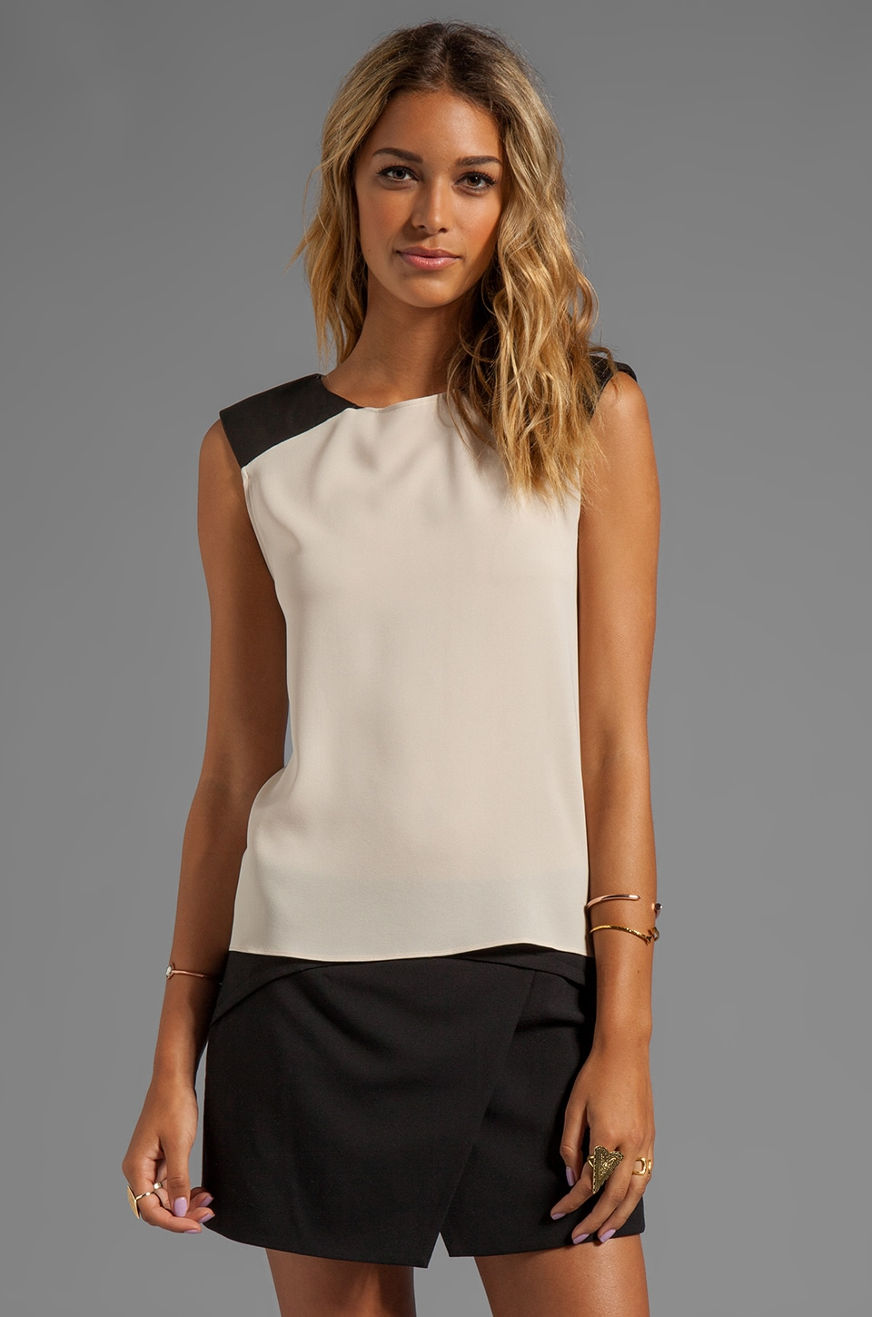 Alice + Olivia Leather Shoulder Muscle Tee in Nude/Black