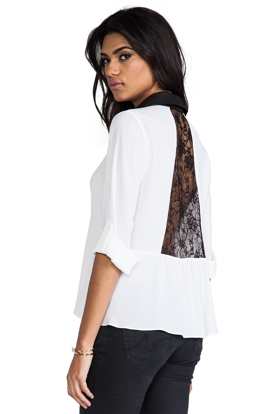 Alice + Olivia Darma Black Detail Flare Blouse in White