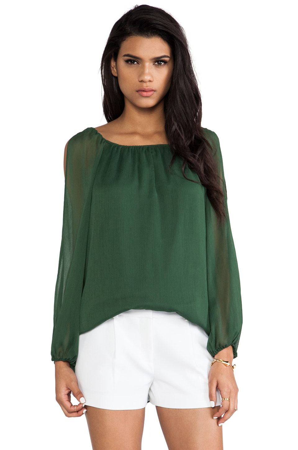 Alice + Olivia Merrie A-Line Cutout Peasant Top in Pine
