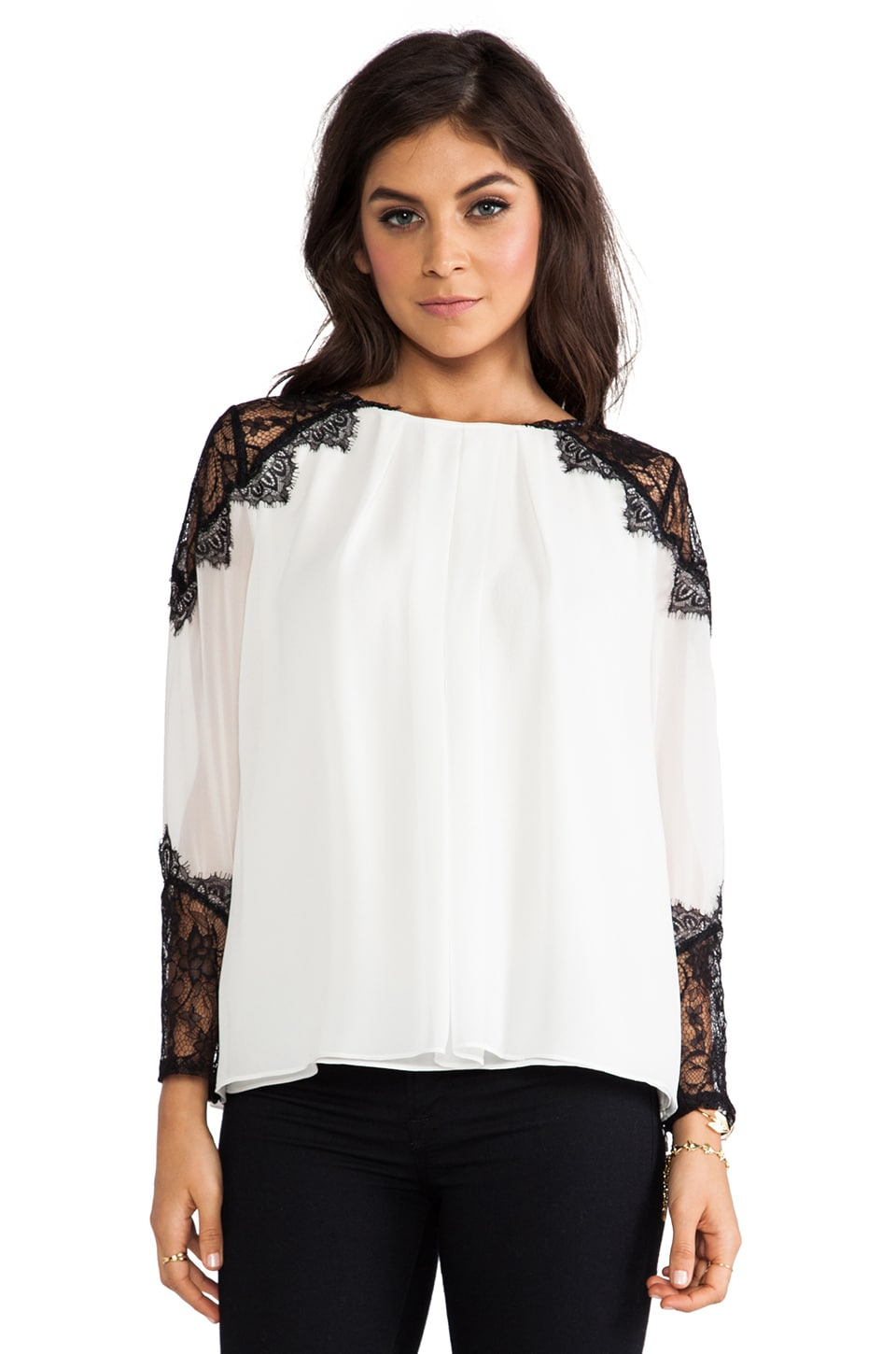 Alice + Olivia Danyelle Lace Shoulder Pleat Front Blouse in Ivory