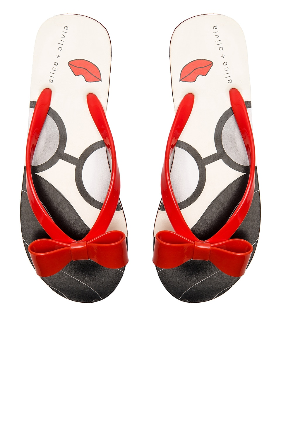 Alice + Olivia Clarissa Sandal in Red & White Stace Face