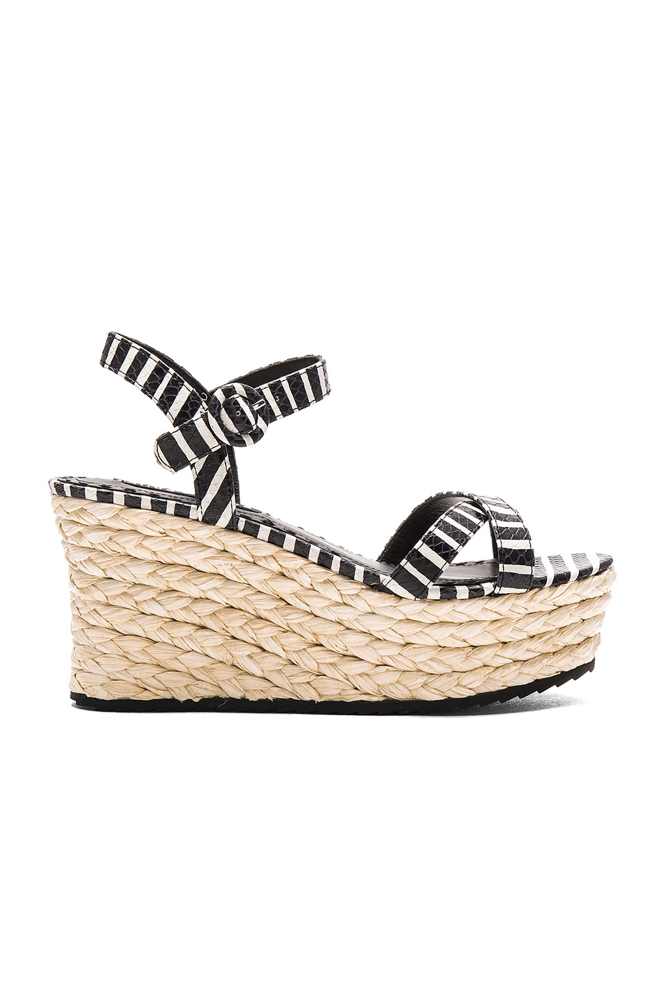 Alice + Olivia Rachel Wedge in Black & White Snake