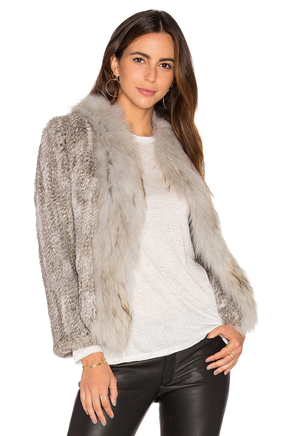 Frill Collar Jacket with Fox and Rabbit Fur by Arielle